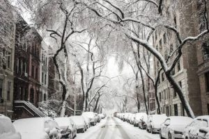 photo of a snowy city