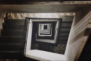 image of a spiralling staircase